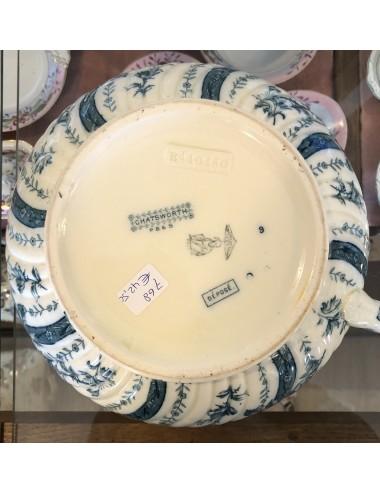 Ontbijtbordje - Société Céramique - décor SADO - blauw met luster