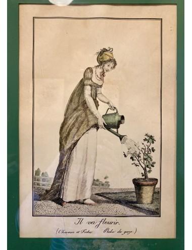 Soepterrine - groot - Société Céramique Maestricht - décor van blauwe bloemen