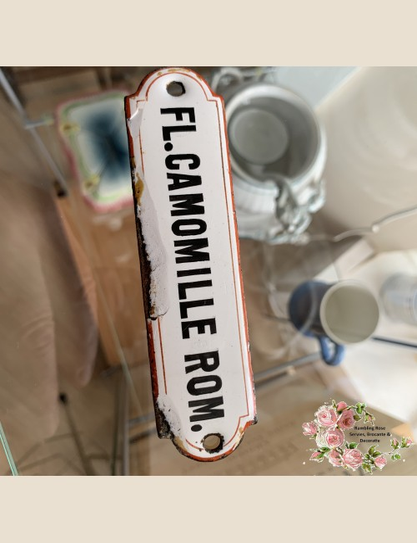 Naamschildje wit emaille met rood/bruine rand – Fl.Camomille Rom.