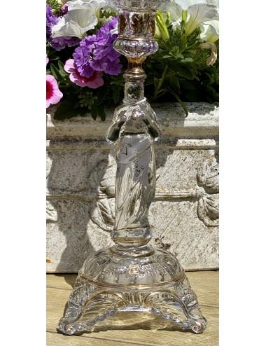 Melkbeker / beker - Petrus Regout - lichtblauw aardewerk met décor van handgeschilderde bloem onder het glazuur