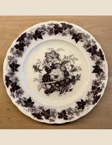 Ontbijtbordje / breakfast plate / frukost tallrik - licht gegolfde rand - Rörstrand (Zweden / Sweden / Sverige) - décor druiven