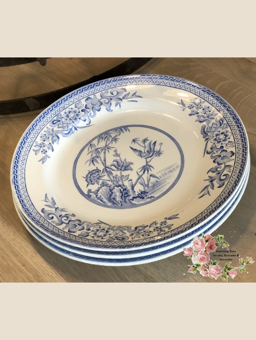Dinerbord – B.W. & Co ( Bates, Walker & Co.) – decor Bamboo blauw.