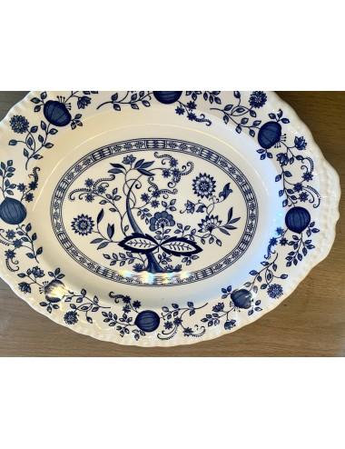 Juskom / Saucière / gravy boat - op vaste onderschaal -  Longwy - décor MESANGE rood
