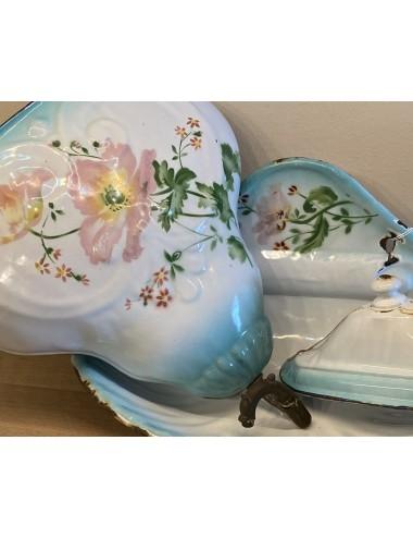 Schaal op lage voet - U & C Sarreguémines - décor EPINE lila / mauve / paars