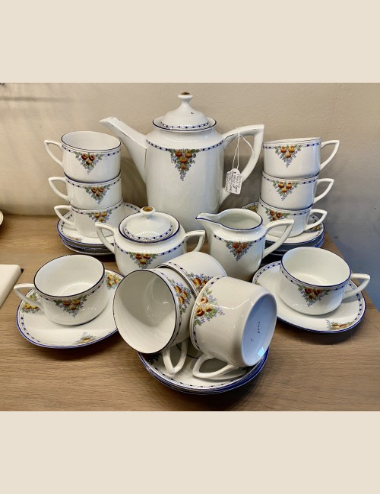 Koffieservies - Louis Regout / Mosa - décor 48 (rode roosjes me donkerblauwe en goudkleurige lijntjes) - model 1351? (blindmerk)